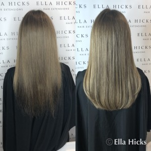 "16"" full head of ash blondes and browns and a trim on the natural hair to create this stunning look"