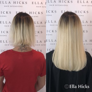 "16"" full head of white blonde mini microring hair extensions to create this full beautiful head of hair"