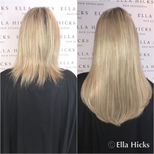 "16"" thick head of mixed ash blonde extensions"
