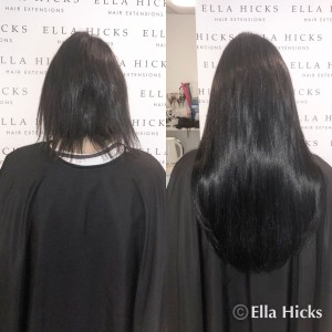 "18"" full head of black hair extensions to create this glossy full head"