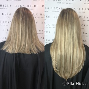 "8"" of mixed blonde hair extensions"