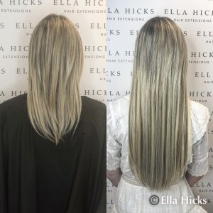 "22"" of mixed ash blonde abs brown mini microring extensions"