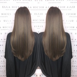 "22"" of mixed brown mini microring extensions to add dimension with out colouring the hair"
