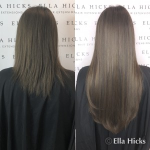"Before and after 22"" of mixed brown mini microring extensions"
