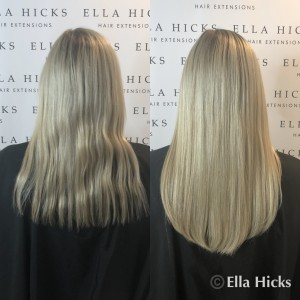 Just 50 strands to create this stunning head of mixed blonde hair extensions in 16""