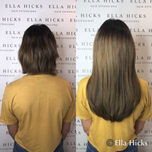 "Such a transformation with 220 x 16"" hair extensions in mixed browns"